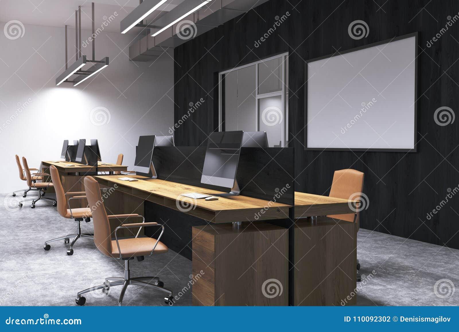Coin de bureau noir de lespace ouvert de mur tableau blanc