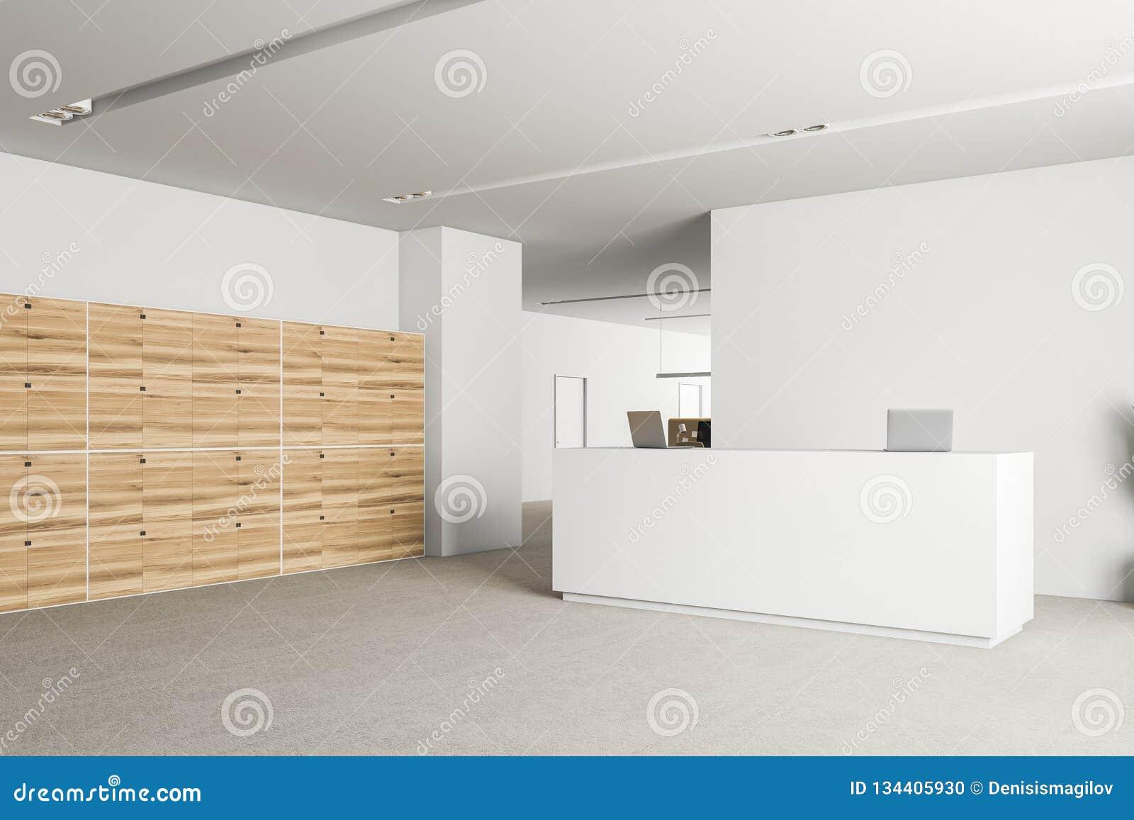 Coin de zone daccueil de bureau avec des casiers illustration stock