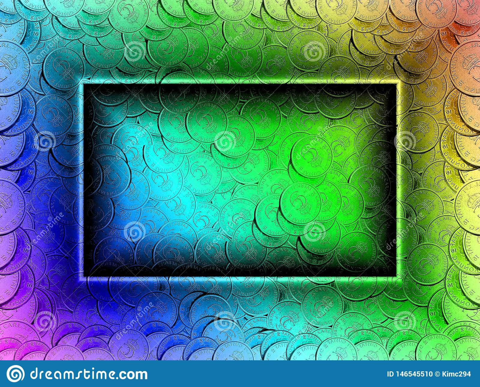 Coin filled background in rainbow colors. Swedish coins