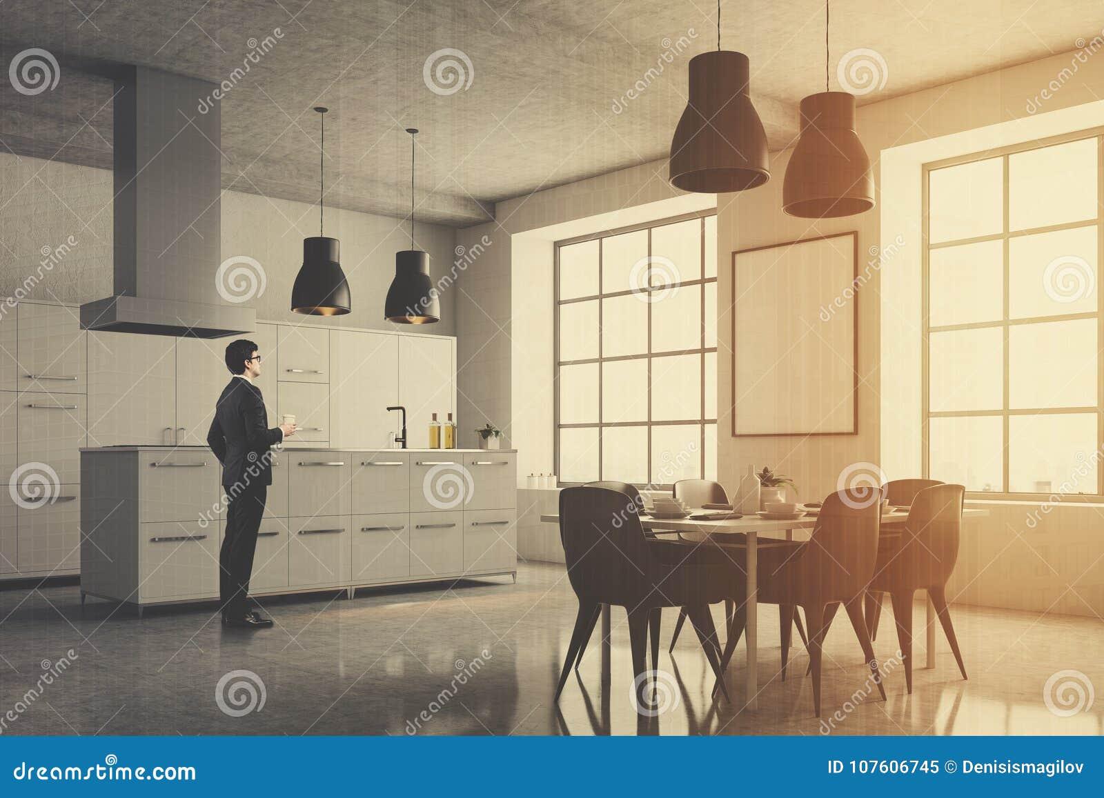 Coin Gris De Cuisine Fenêtres Carrées Table Homme Image Stock