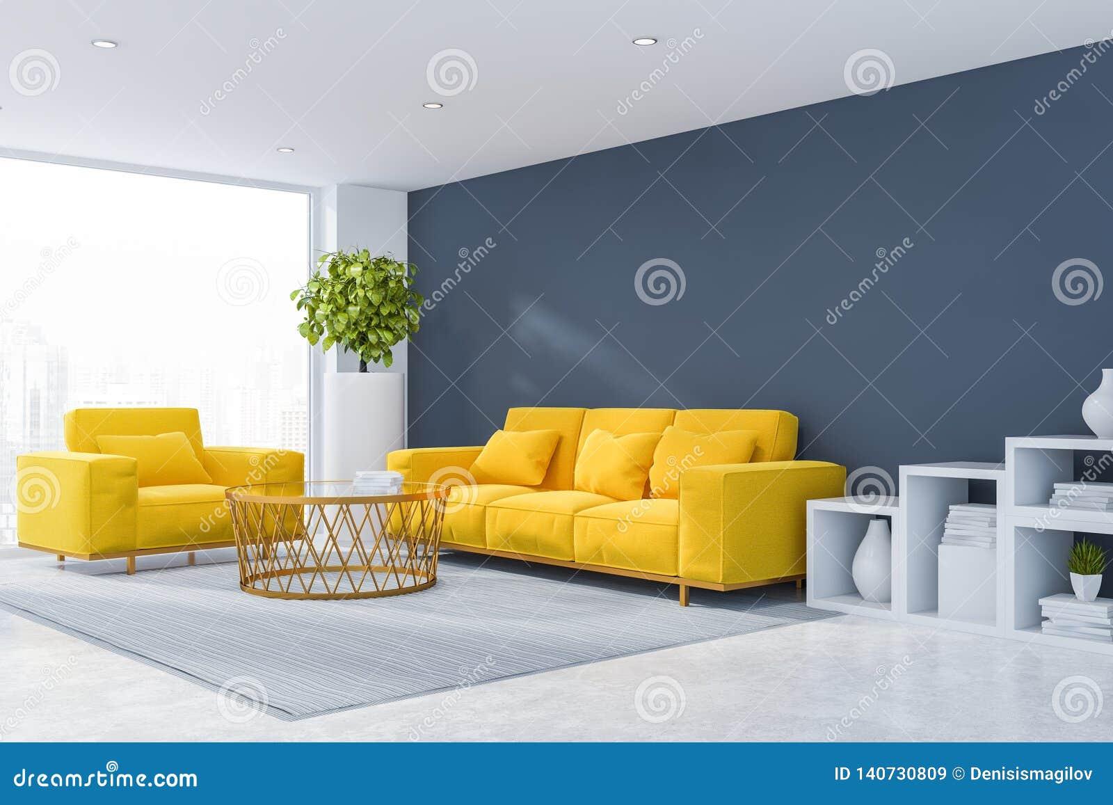 Coin Gris De Salon Avec Le Sofa Et Le Fauteuil Illustration ...