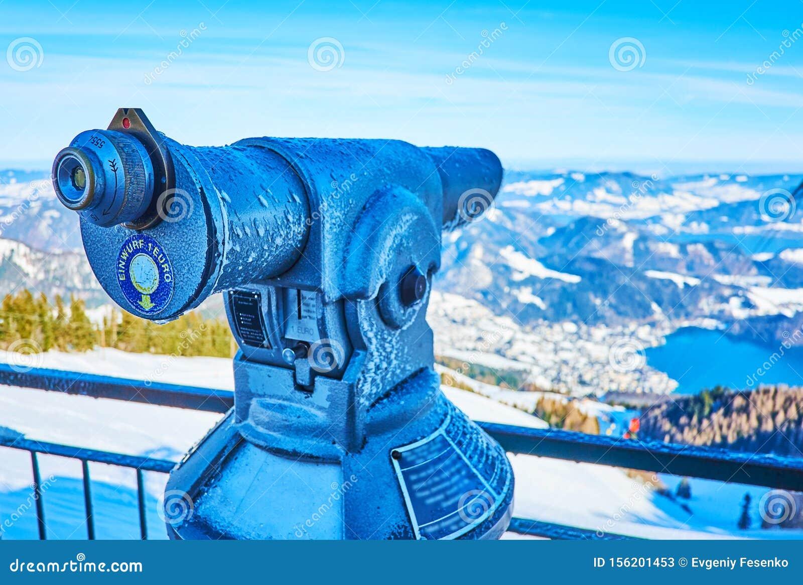 Coin-operated telescope on top of Zwolferhorn, St Gilgen, Salzkammergut, Austria