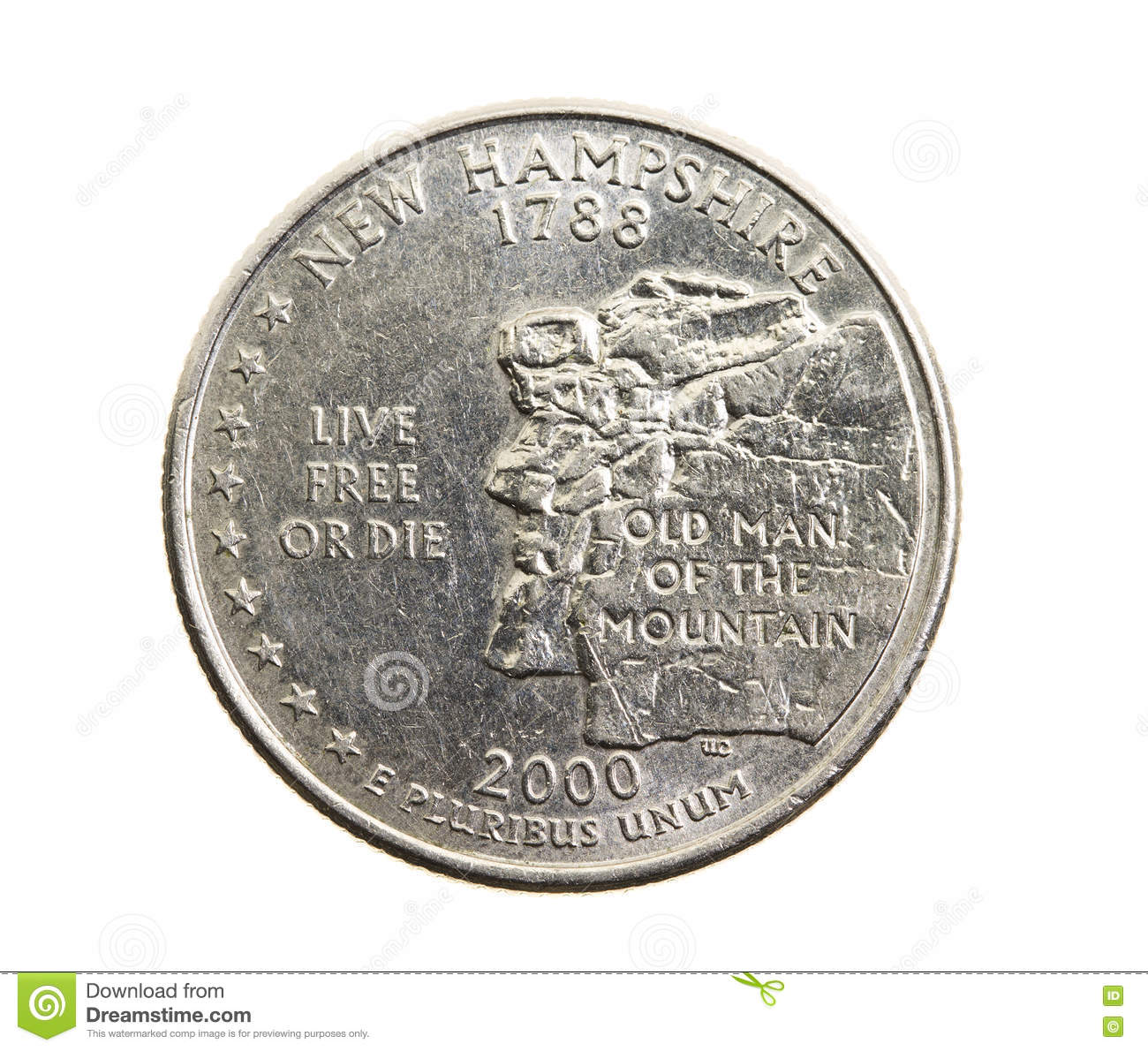 Coin in a quarter of the US dollar