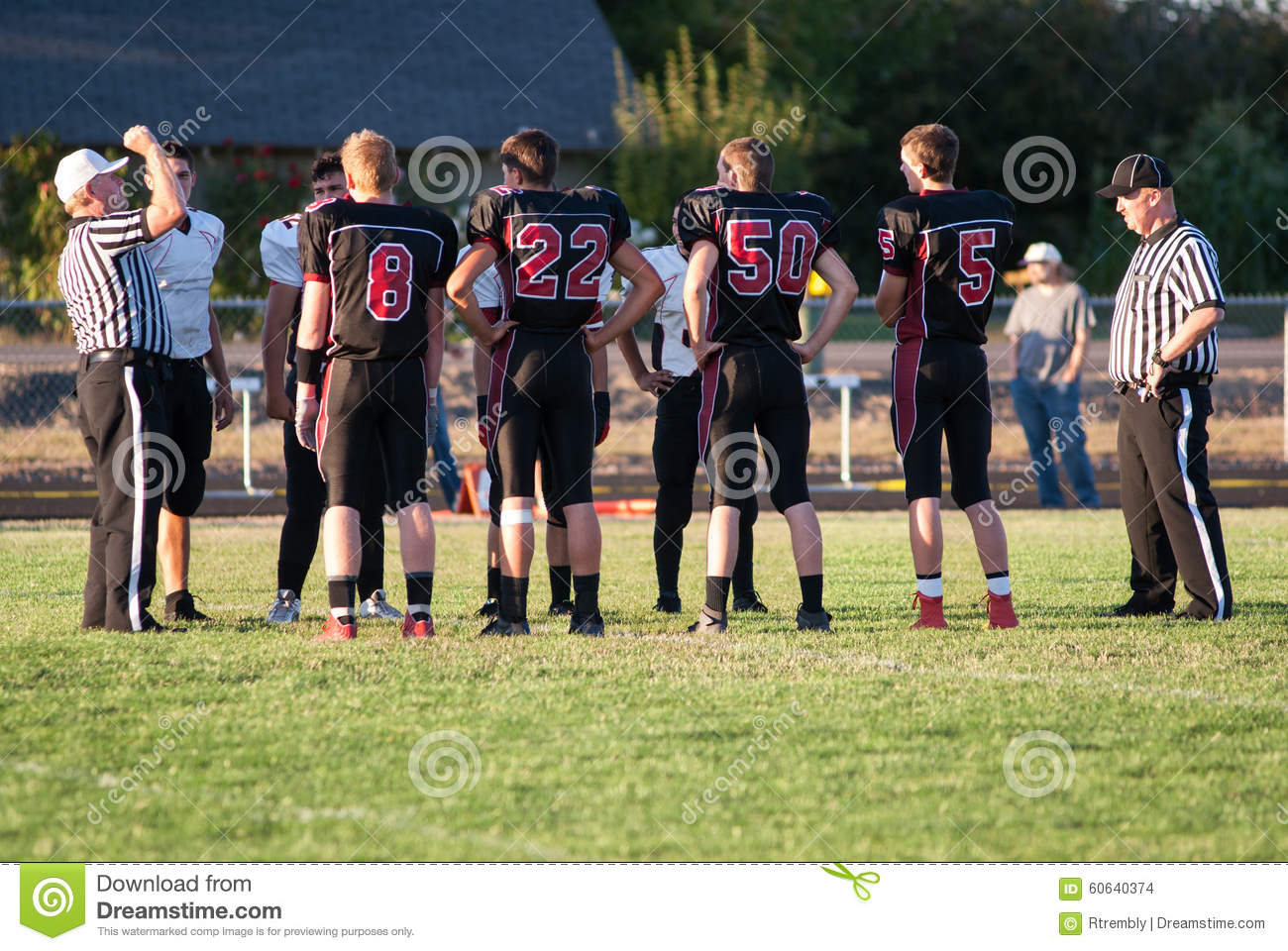 Coin Toss At Beginning Of Football Game Editorial Stock Image