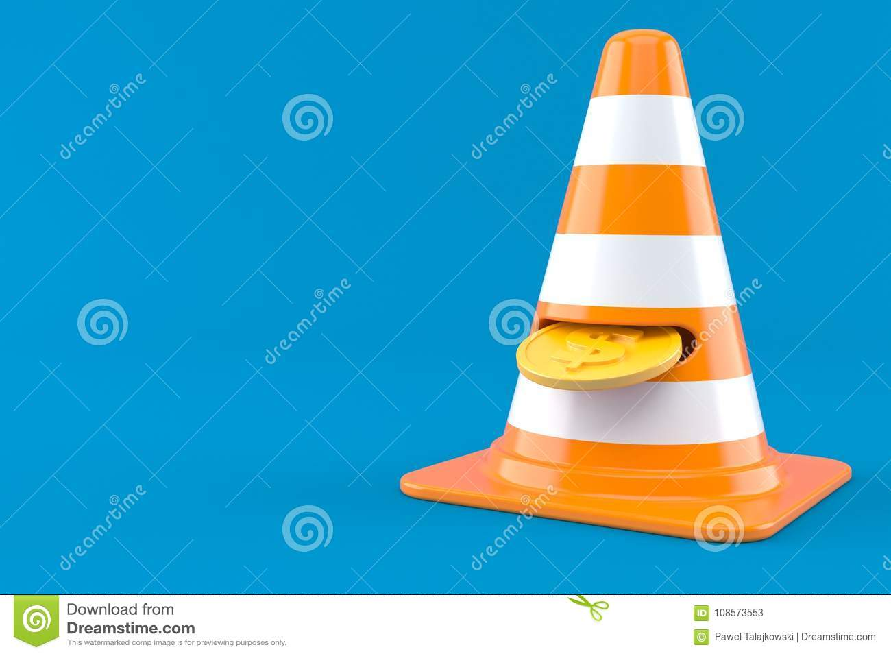 Coin with traffic cone stock illustration  Illustration of input