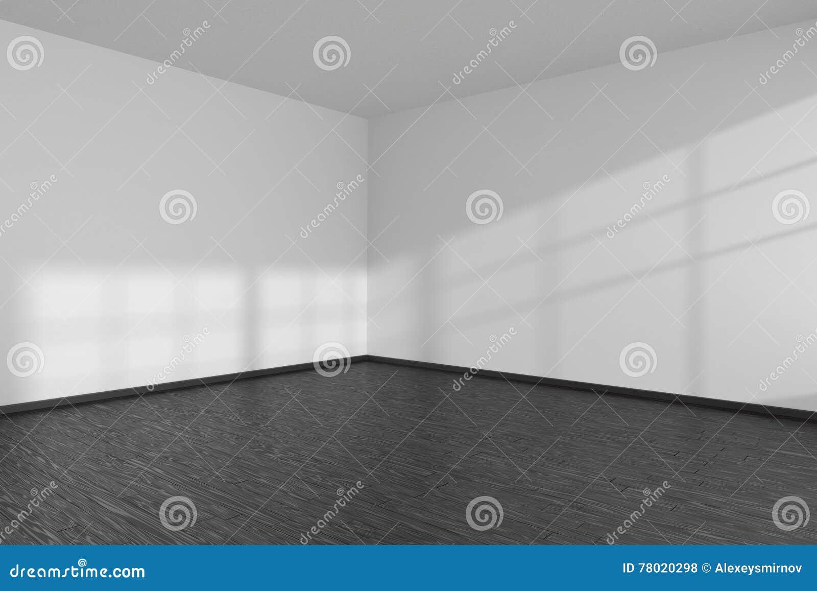 coin vide de pi ce avec le plancher de parquet noir et les murs blancs illustration stock. Black Bedroom Furniture Sets. Home Design Ideas