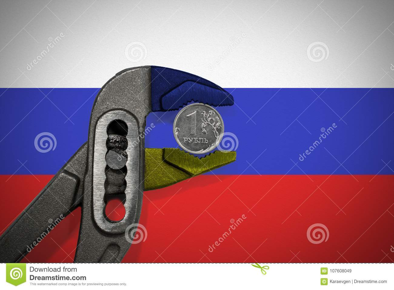 The coin in vise on the background of flag of Russia