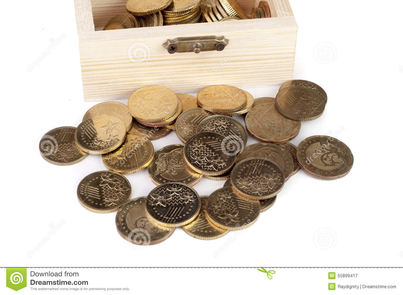 Download Coin in wooden box stock image. Image of coins, bank - 55899417