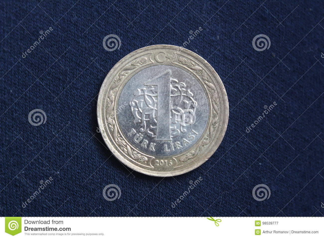 A Coin Worth 1 Turkish Lira Is On A Dark Background Stock Image