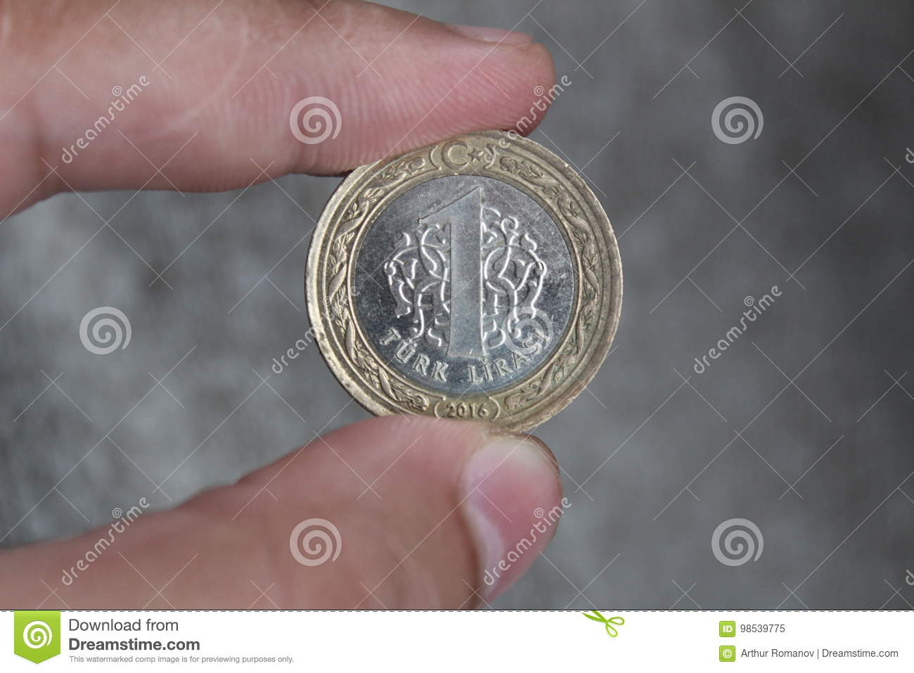 A Coin Worth 1 Turkish Lira Between The Fingers Of The Hand Stock