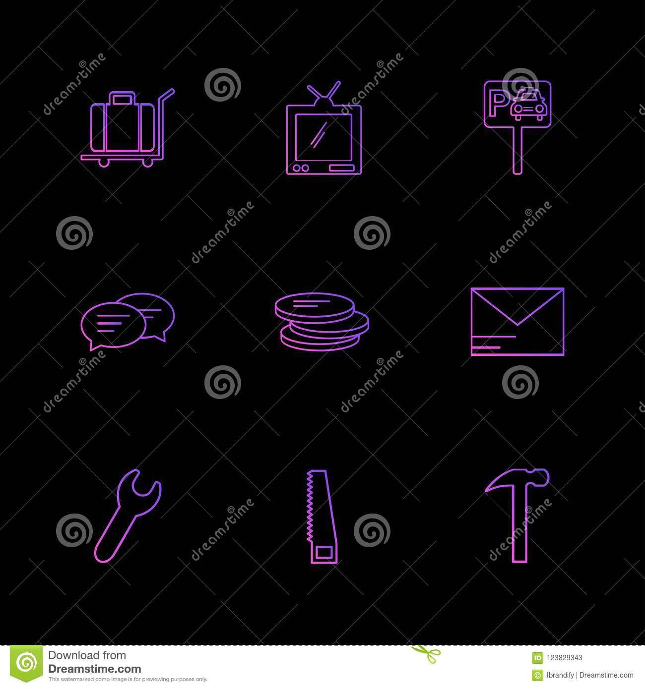 Coin , Wrench , Message , Wallet, Transport , Travel