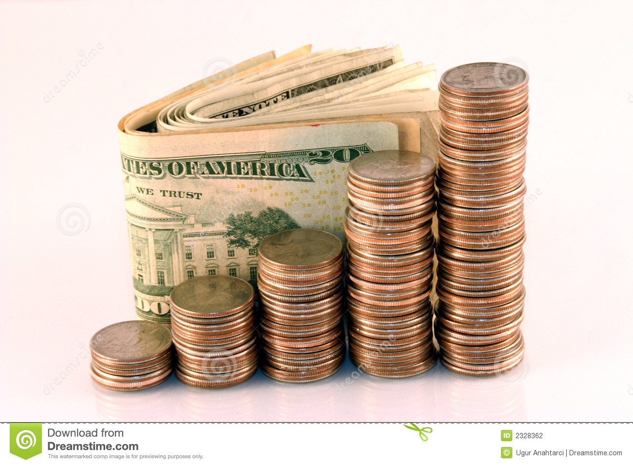 Coins And Cash Stock Photo Image Of Finance Nickels 2328362