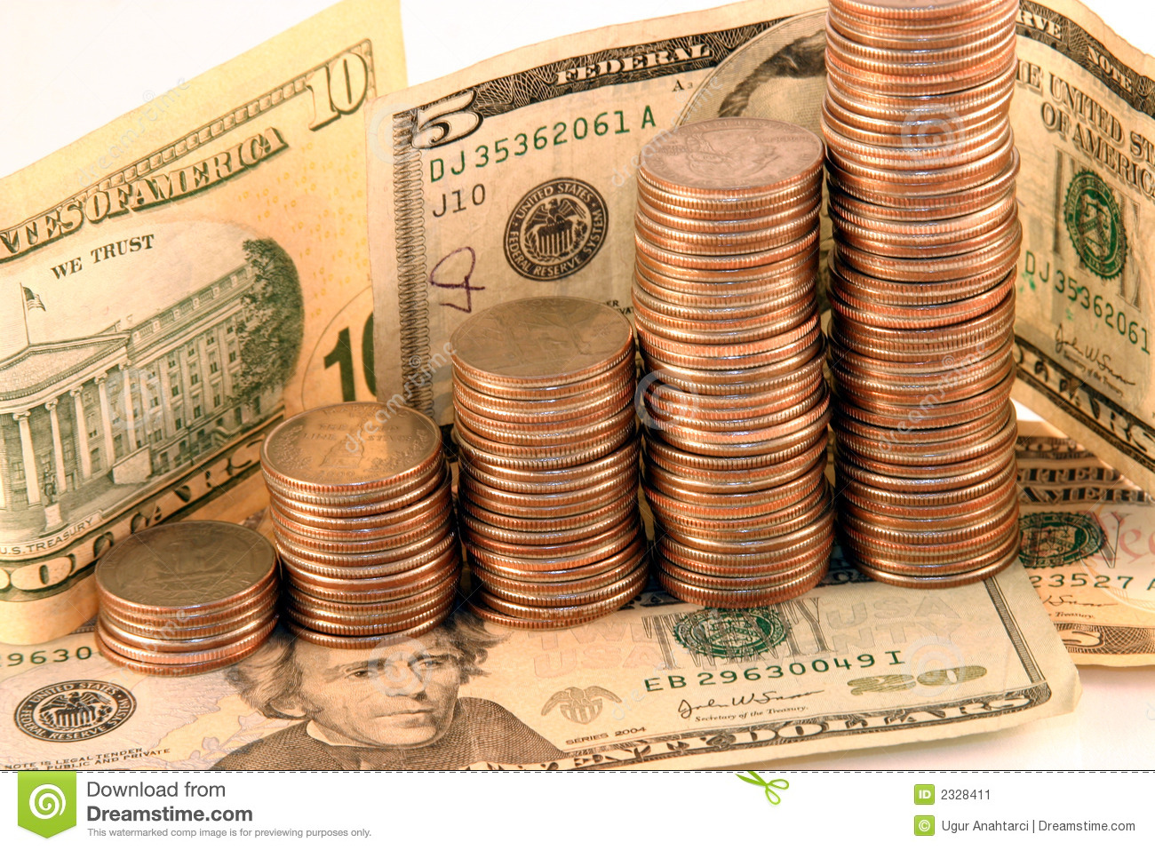 Coins And Cash Stock Image Image Of Save Isolated Business 2328411
