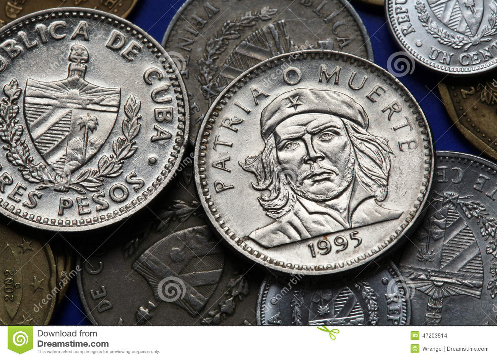 Coins Of Cuba. Ernesto Che Guevara Stock Photo - Image ... Pesos Symbol