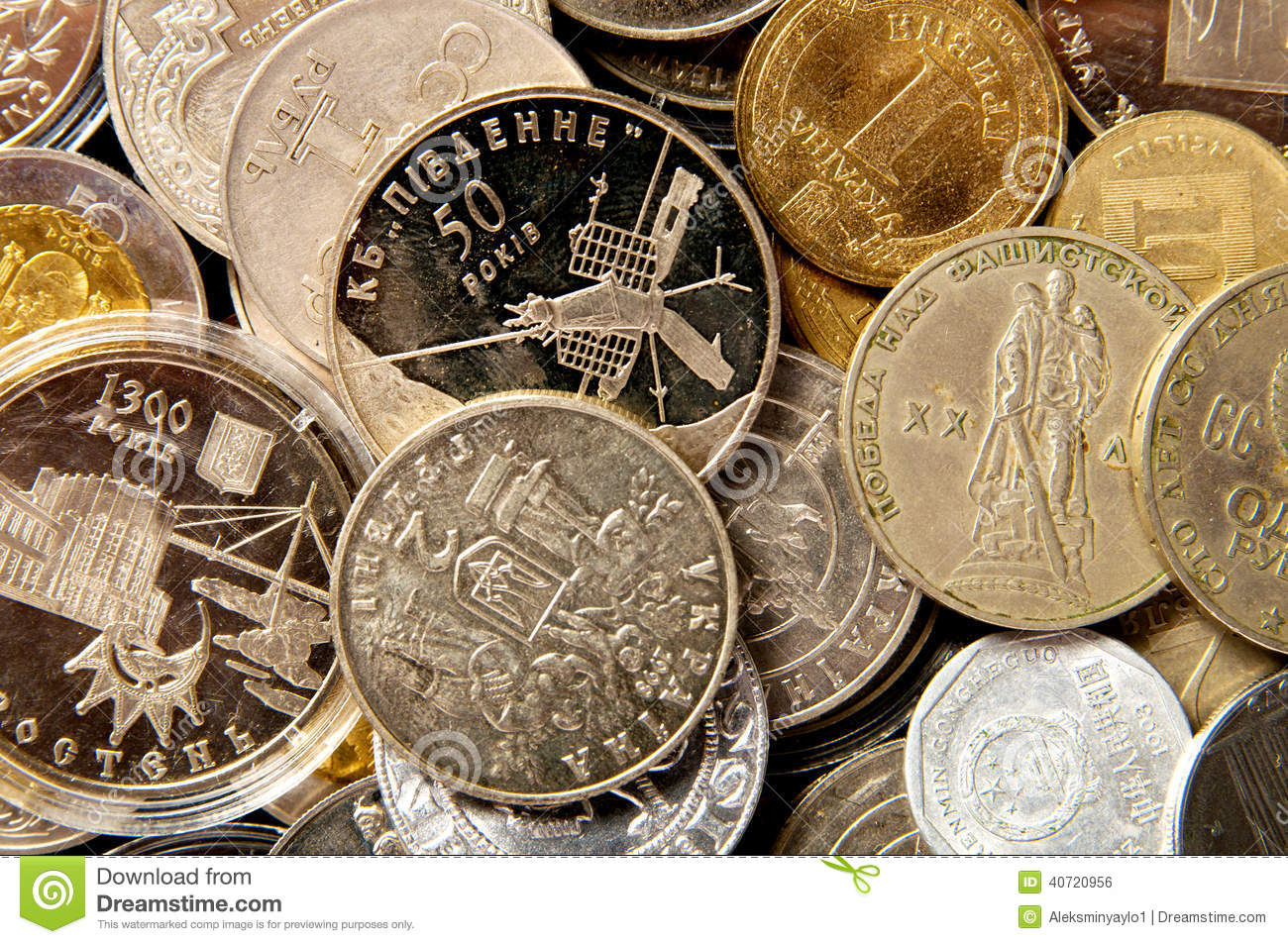 Coins of different countries. coin collection - stock photo .