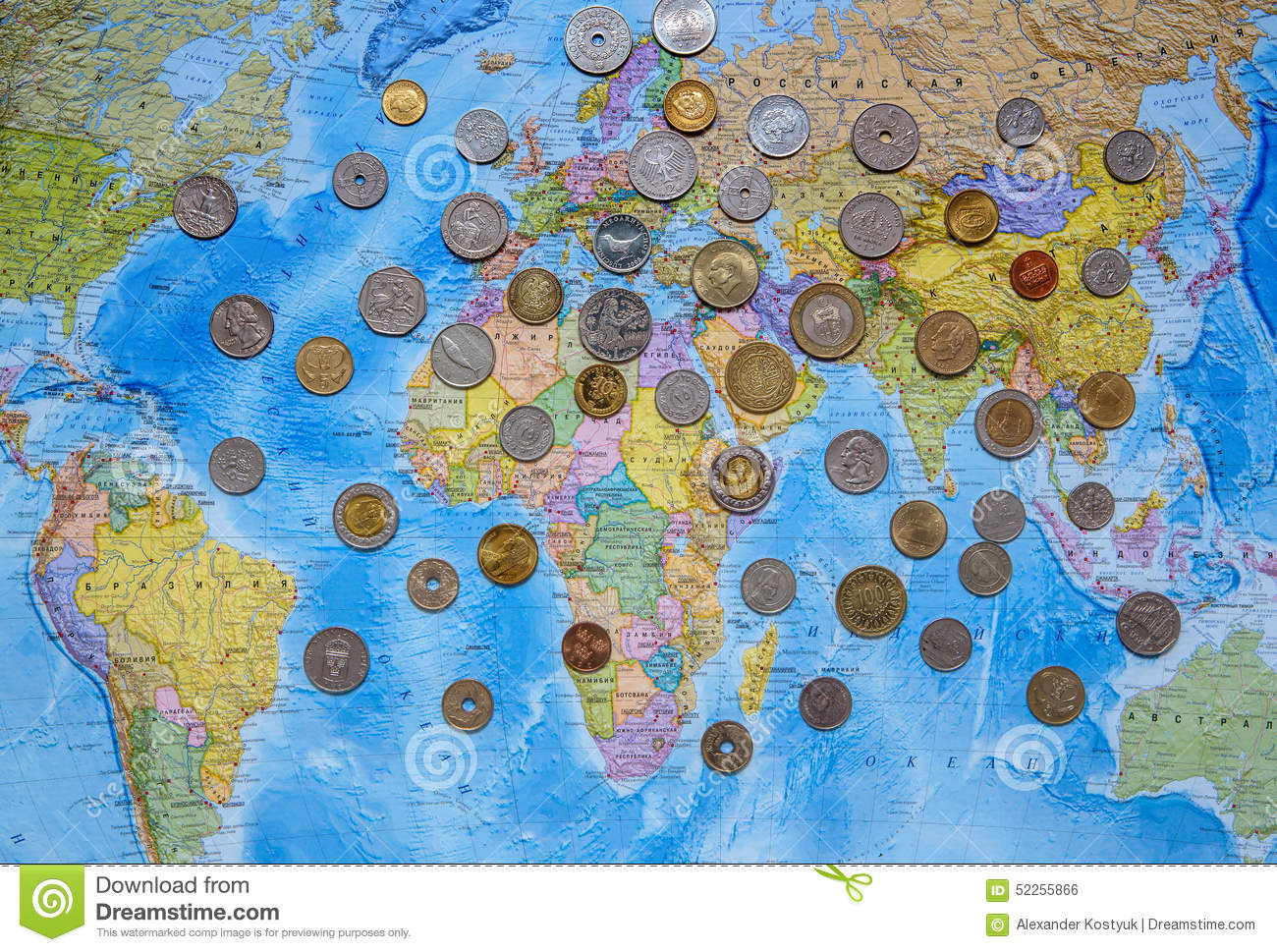 Coins Of Different Countries On The World Map Background Editorial ...