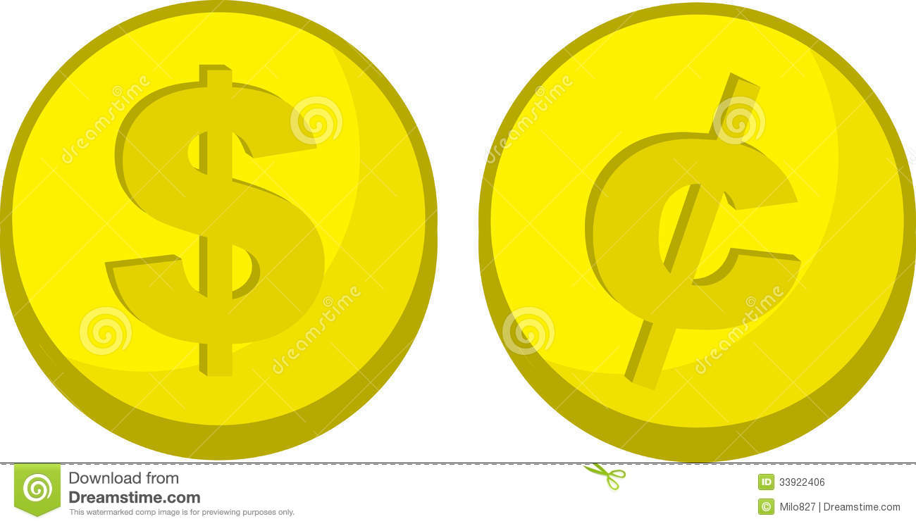 Coins Dollar Cent Symbol Stock Vector Illustration Of Isolated