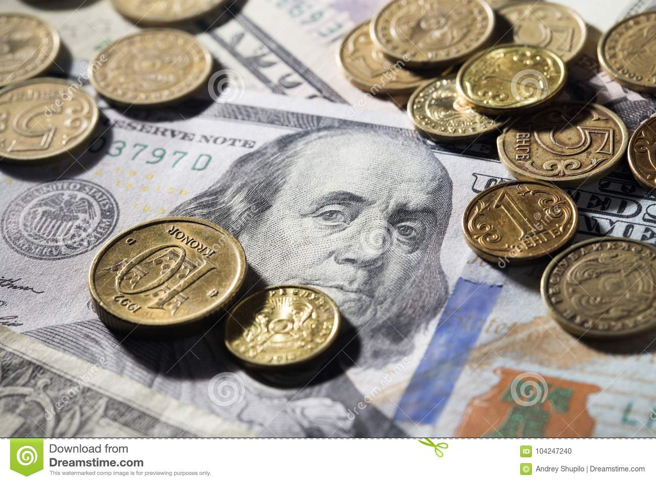 Coins and dollars stock photo  Image of america, euro - 104247240