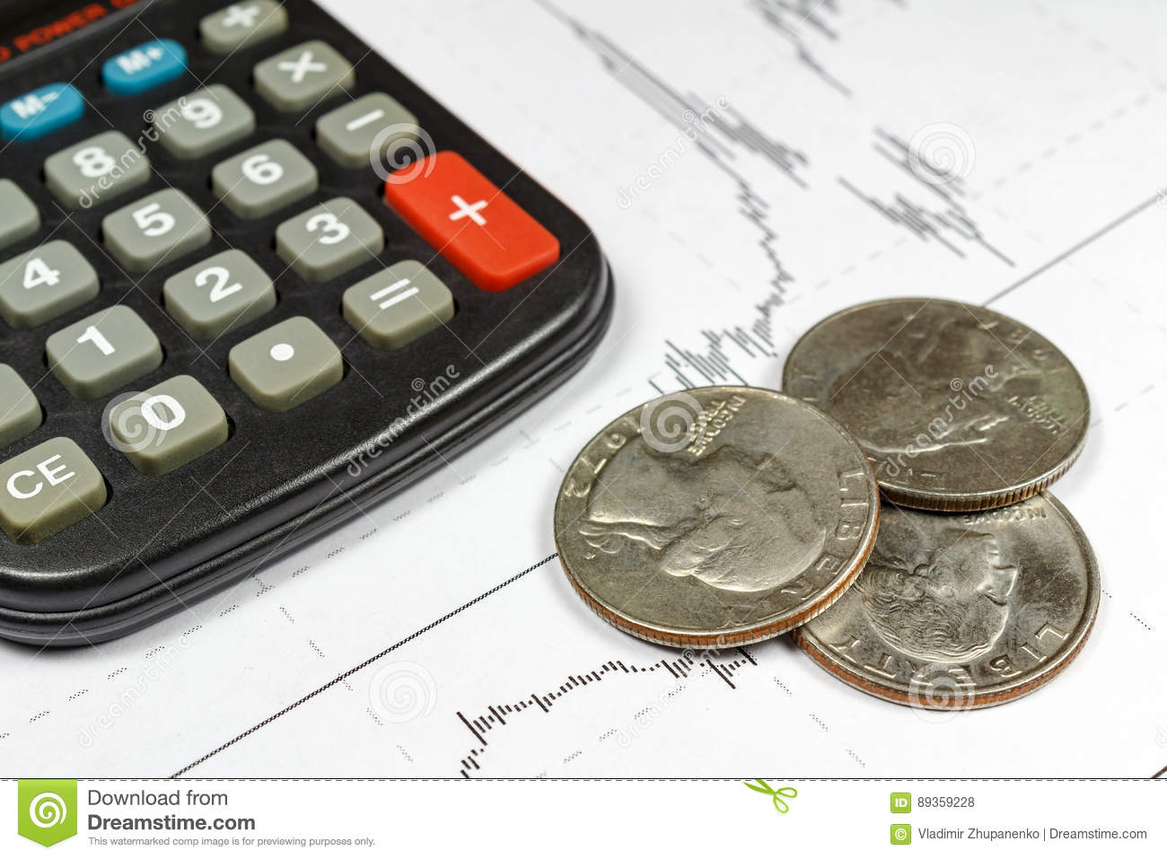 Coins with electronic calculator on the background of currency growth schedule