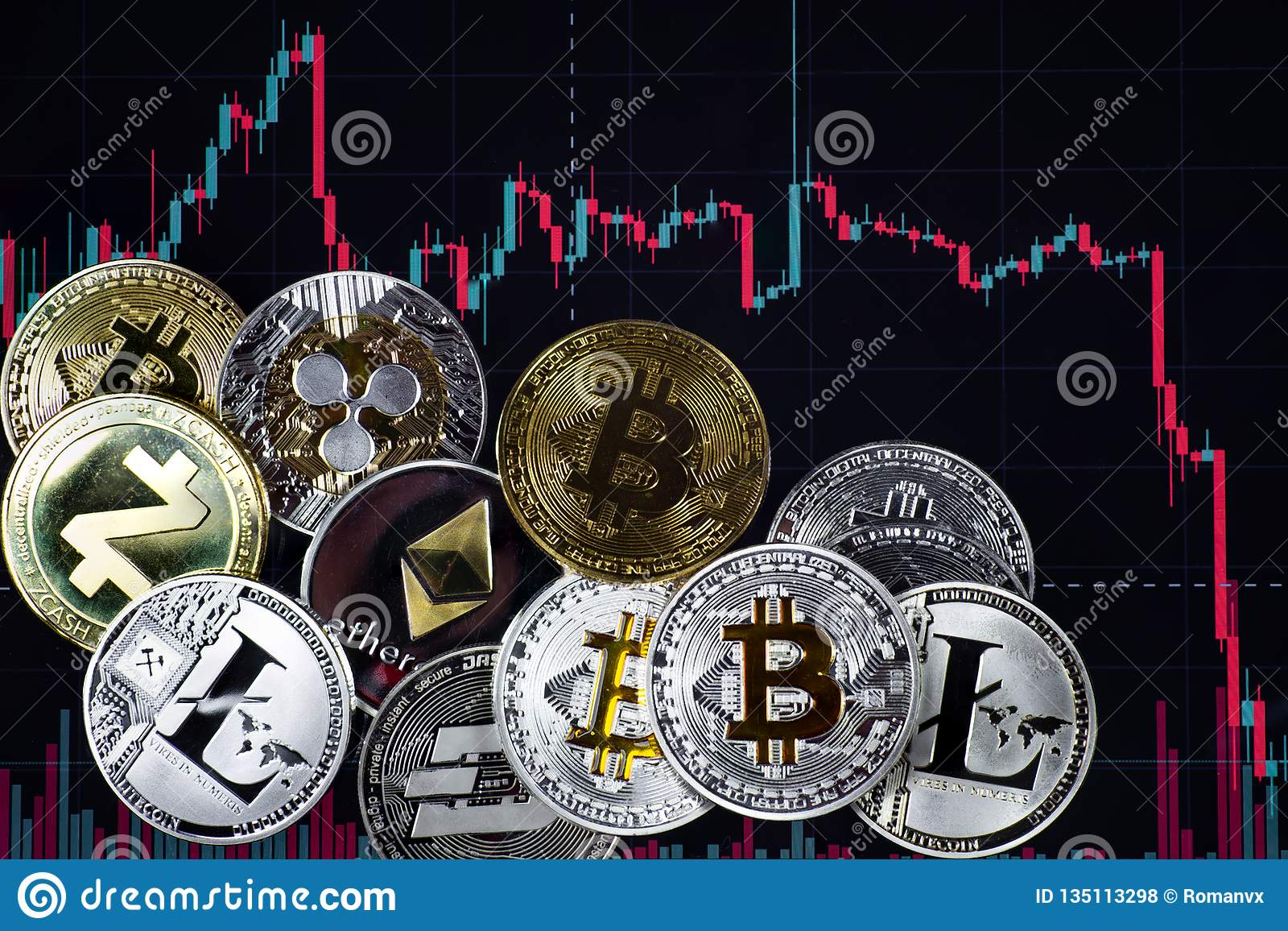 Coins etherium, bitcoin, dash, litecoin, ripple, zcash against the background of falling exchange chart