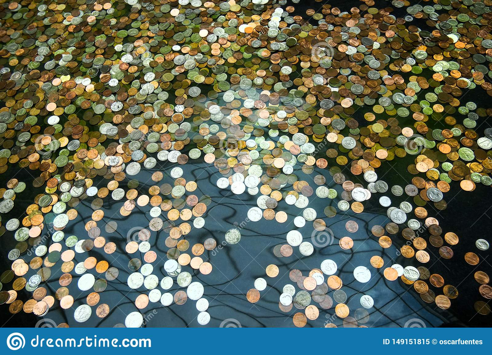 Coins in a fountain, wishes for prosperity