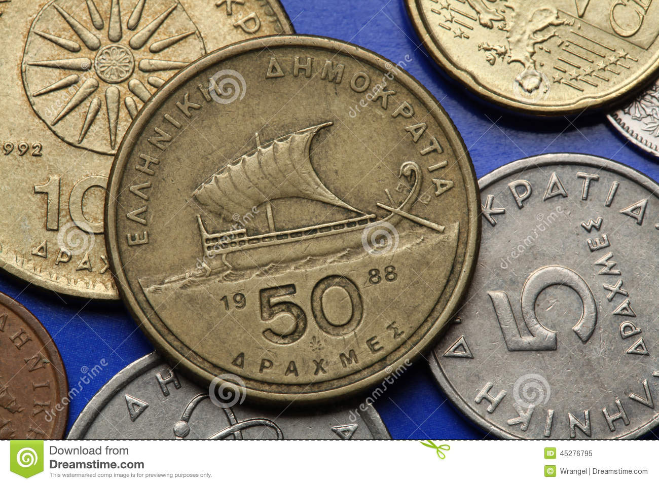 Coins of Greece stock image. Image of jason, coins, object ...
