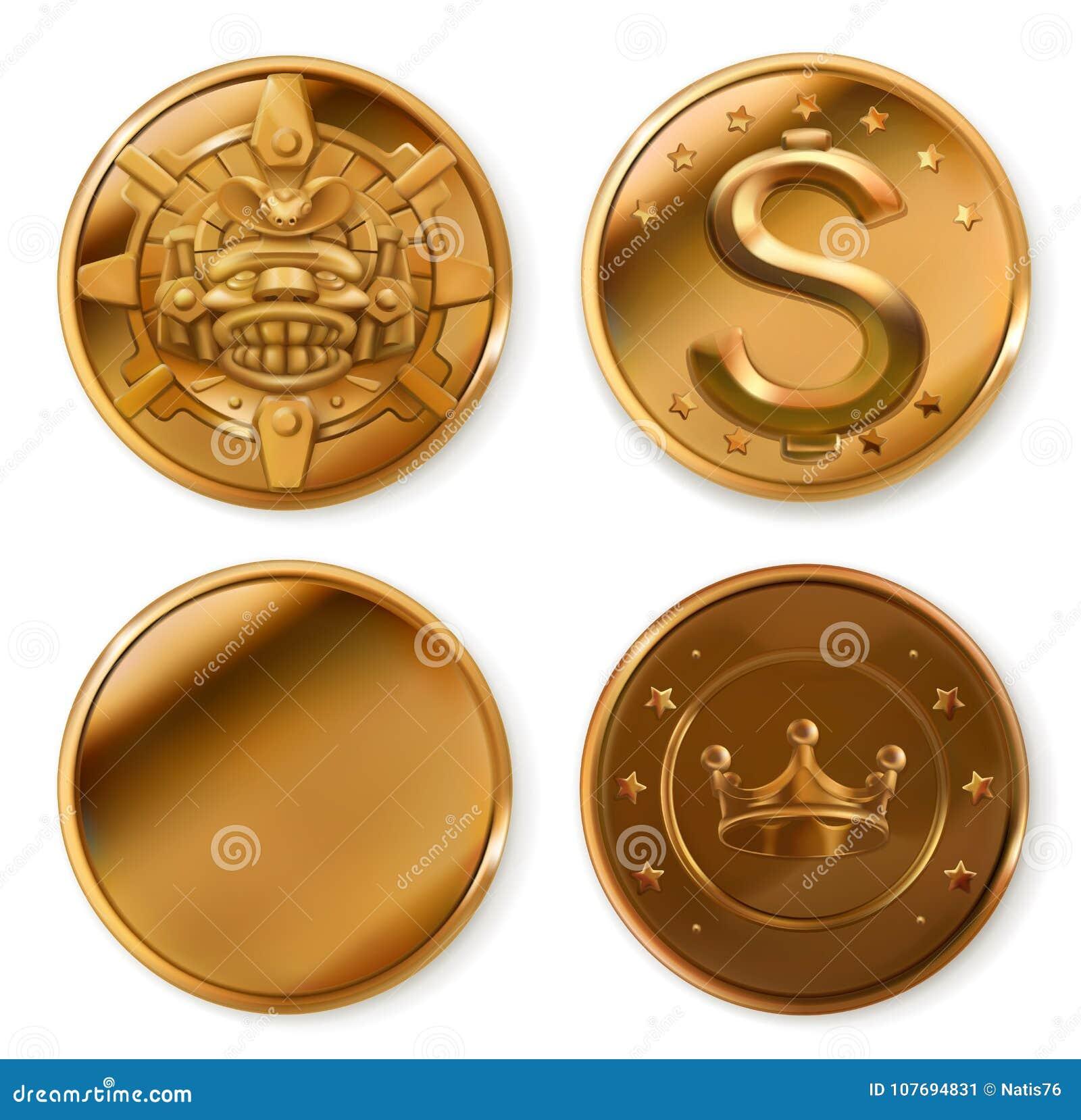 Coins guld- symboler för pappfärgsymbol ställde in vektorn för etiketter tre