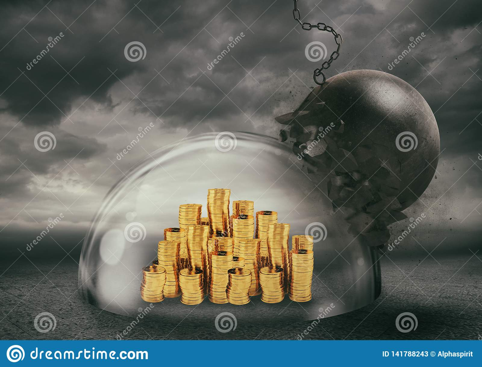 Coins safely inside a shield dome during a storm that protects them from a wrecking ball. Protection and safety concept