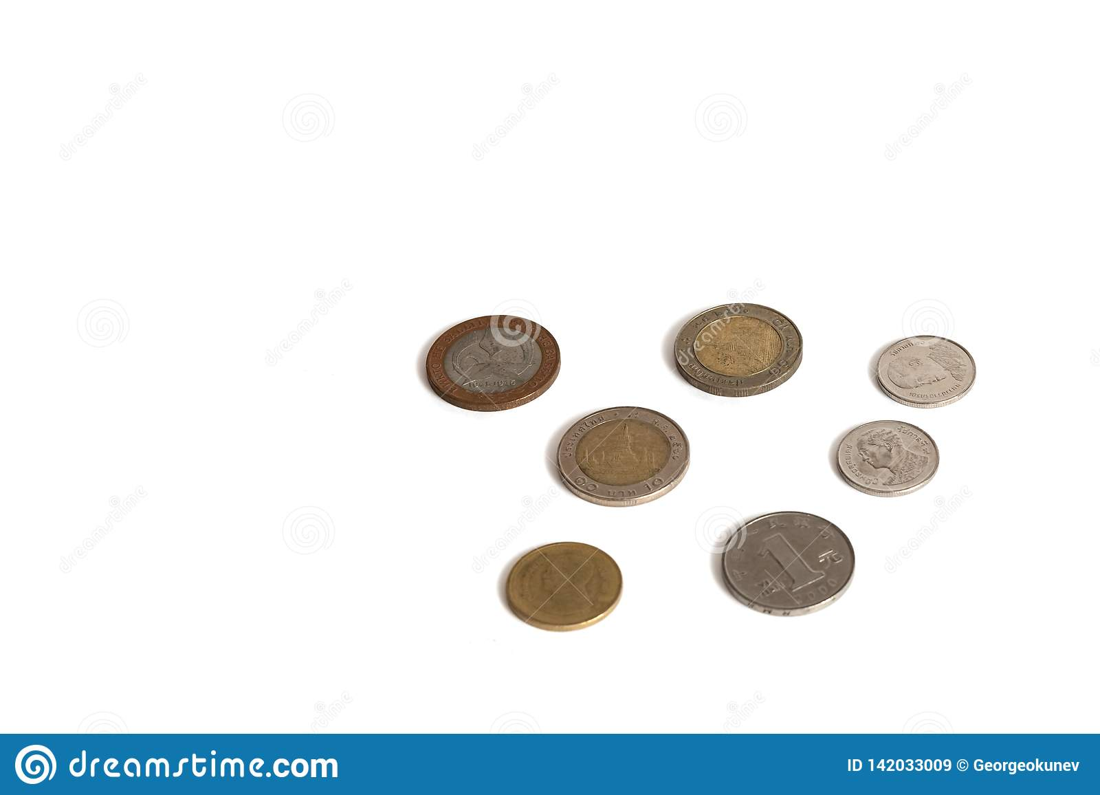 Coins isolated on a white background of different values