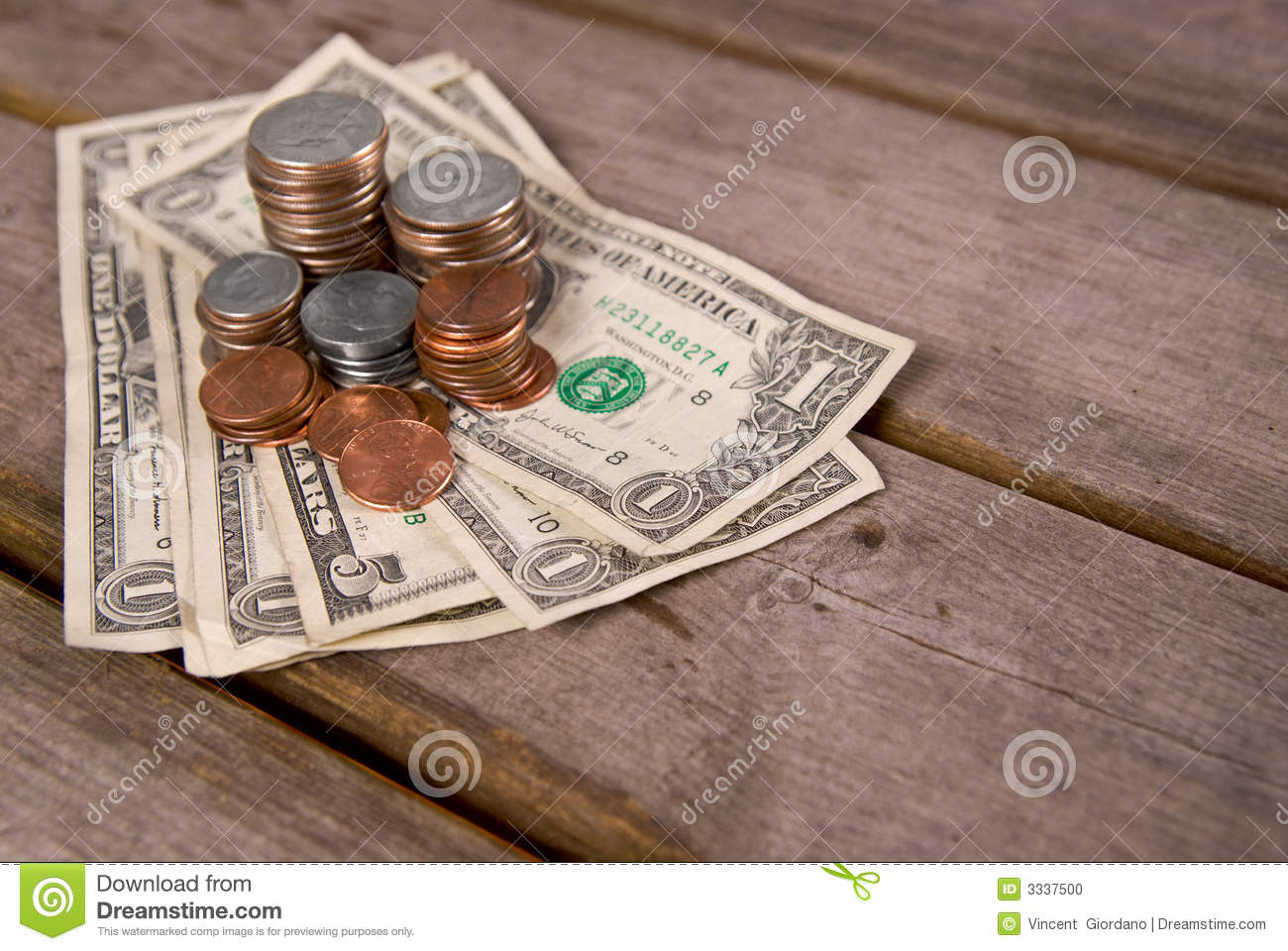 Coins & Money On Picnic Table Stock Photo - Image: 3337500