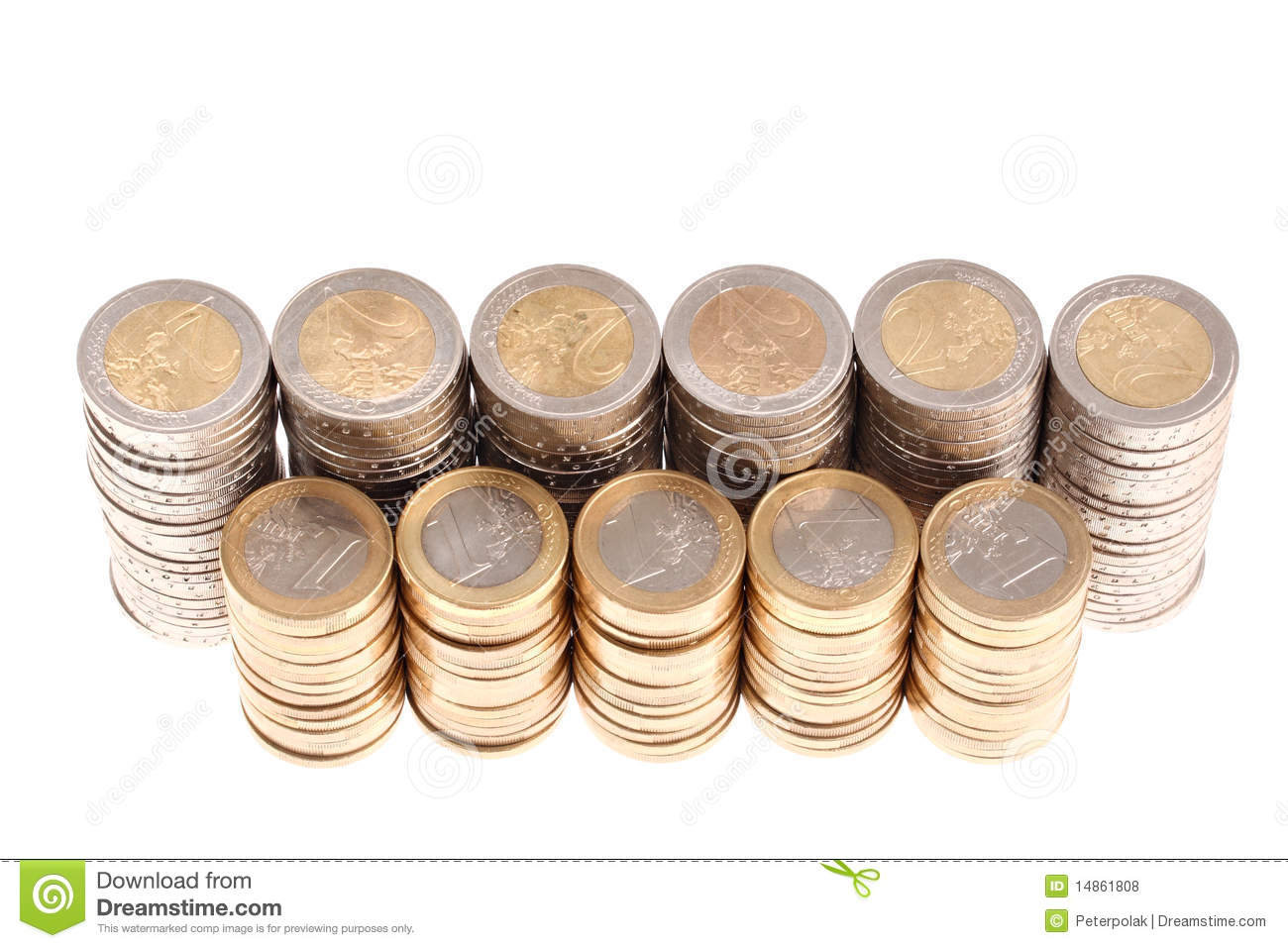 Coins organized in columns and rows isolated