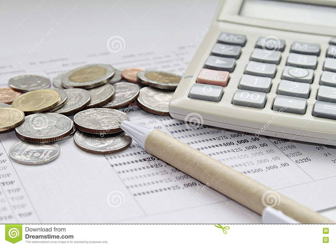 Coins Pen And Calculator On Savings Account Passbook Photo – Savings Account Calculator