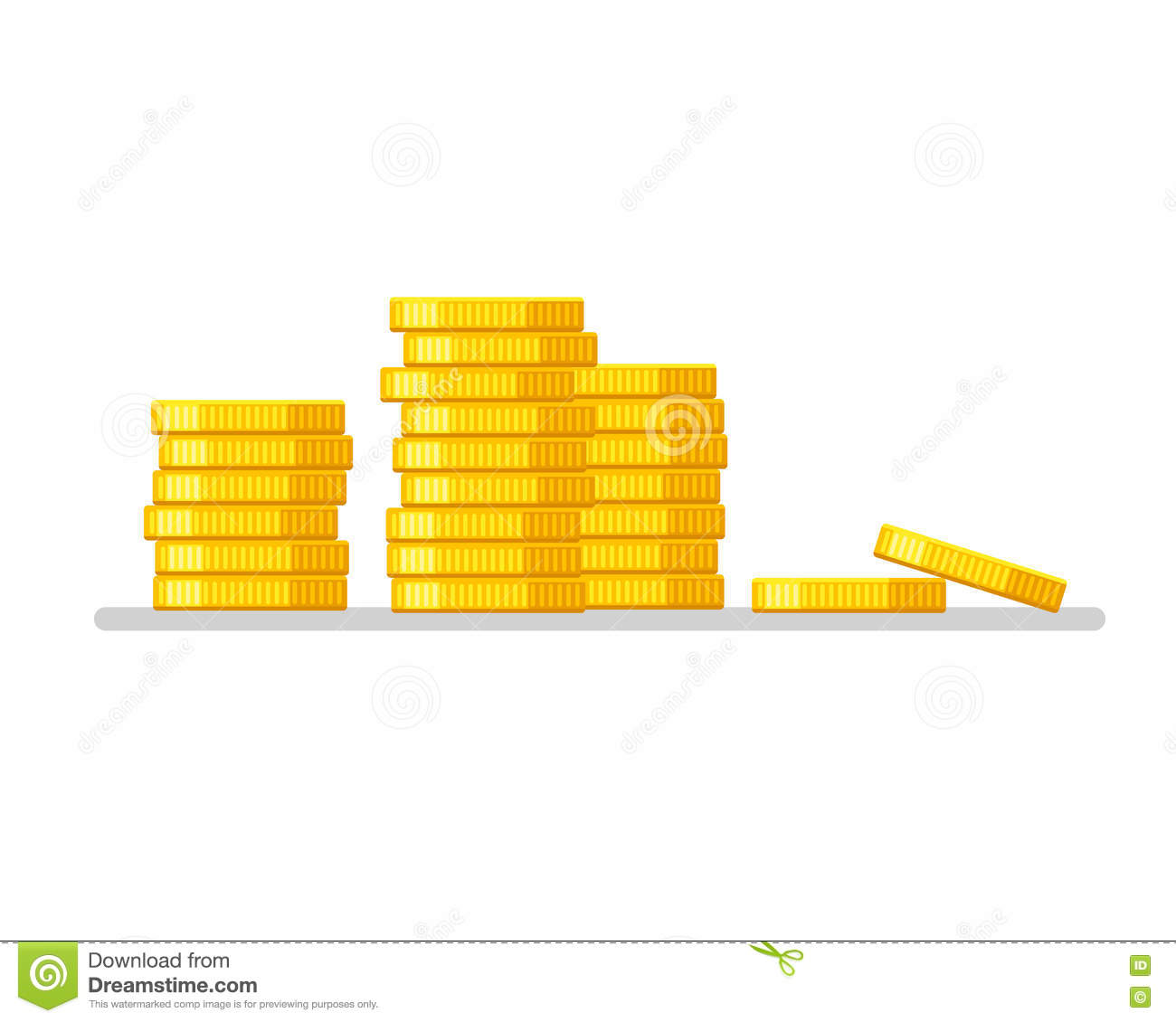 Coins stack. Gold money icon flat design illustration vector. Business concept.