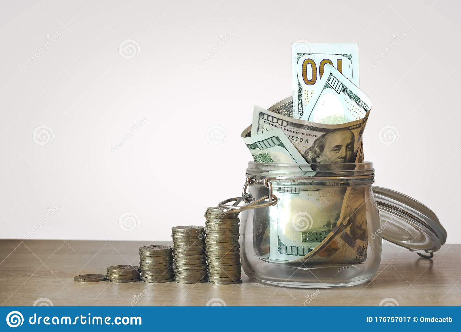 Coins Stack And Us Dollar Bills In The Glass Jar Concept Of Money Saving Financial Savings Money And Income Investment Ideas Stock Image Image Of Change Gold 176757017