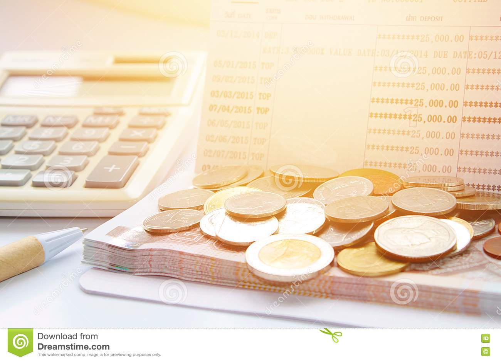 Coins Thai Money Pen Calculator And Savings Account Passbook On – Savings Account Calculator
