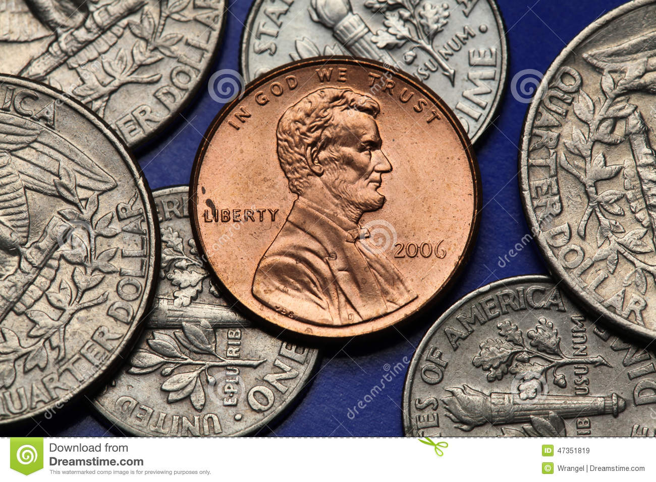 Coins Of USA  US Cent  Abraham Lincoln Stock Image - Image