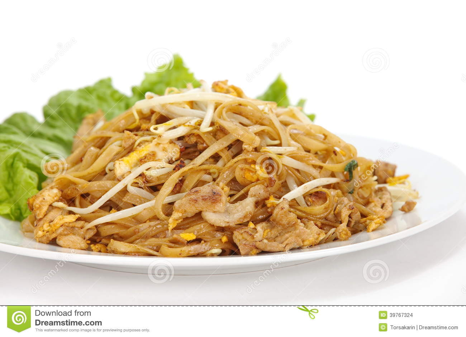Cojín sofrito de los tallarines de arroz tailandés