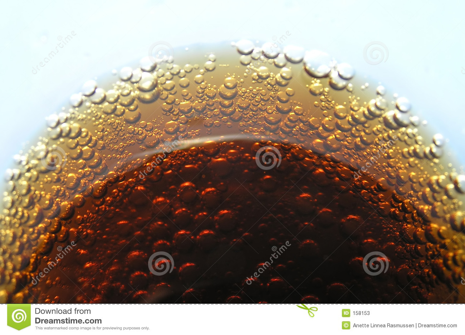 Cola bubbles in glass