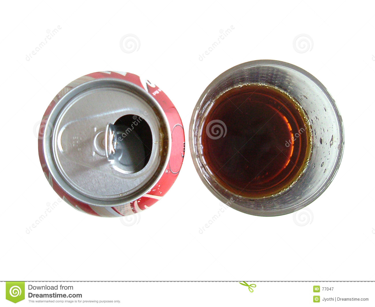 Cola in can and glass