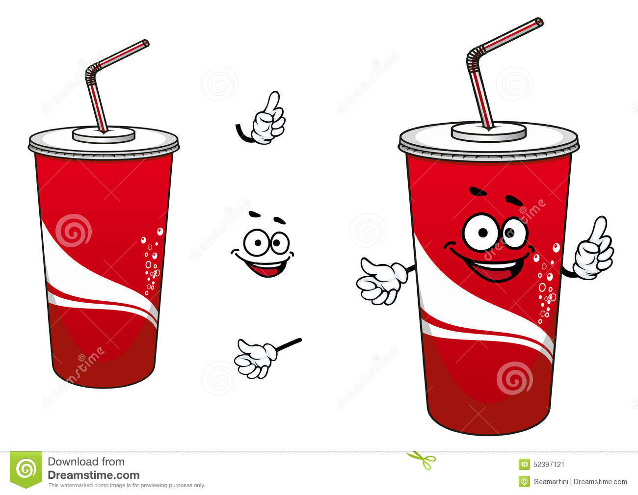 Funny cola or soda cartoon character depicting red paper cup with lid ...
