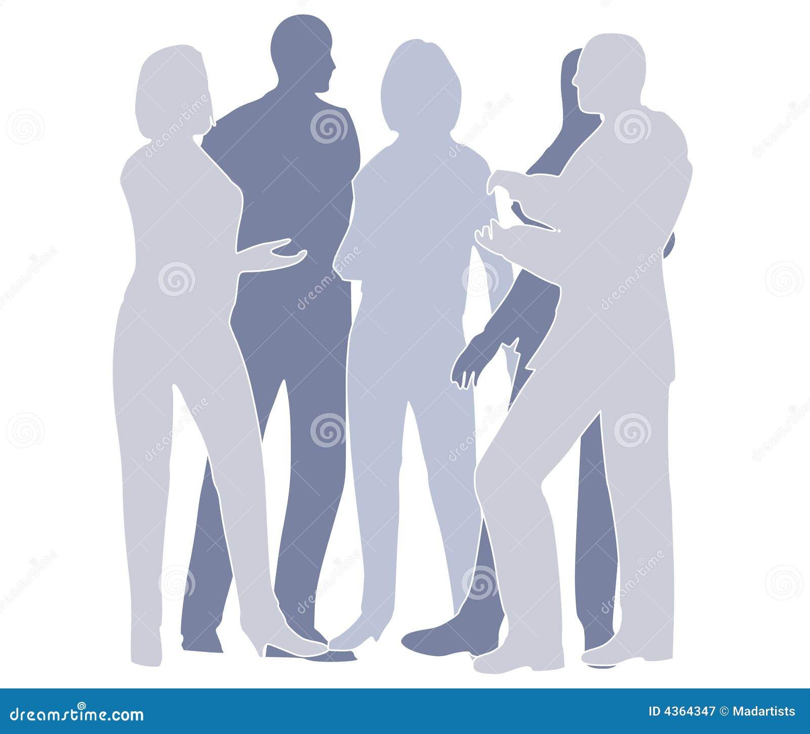 Colaboración de las personas del asunto en azul
