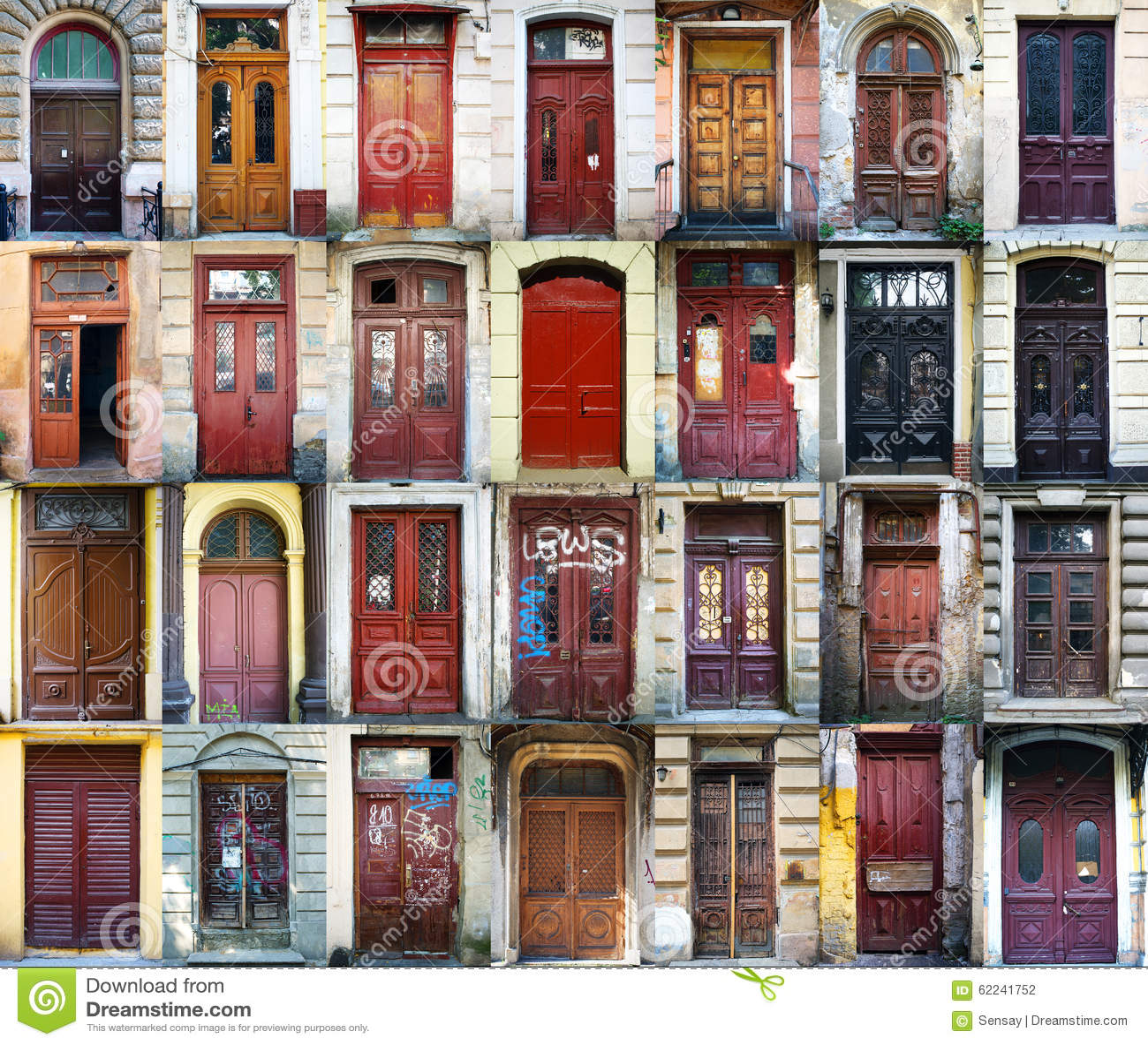 A Colage Of 28 Vintage Doors In Odessa Ukraine Stock