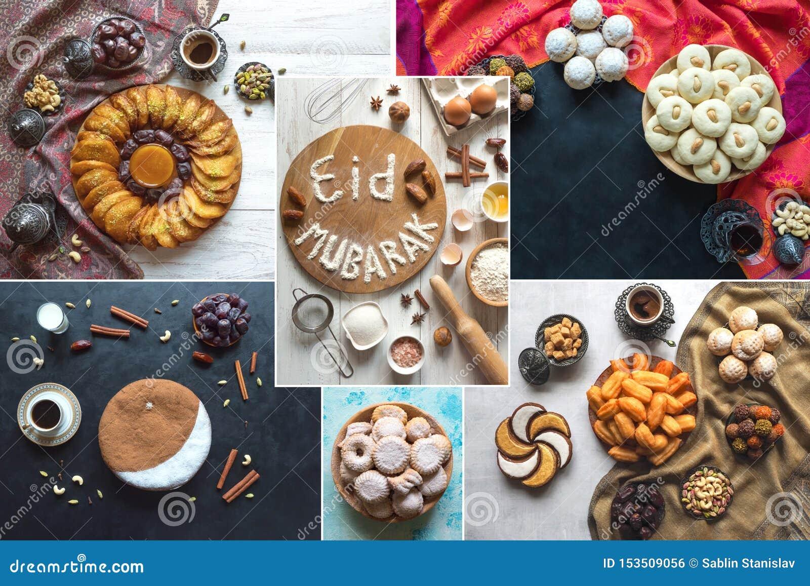 Colagem árabe Da Culinária Eid Mubarak Feliz Do Feriado