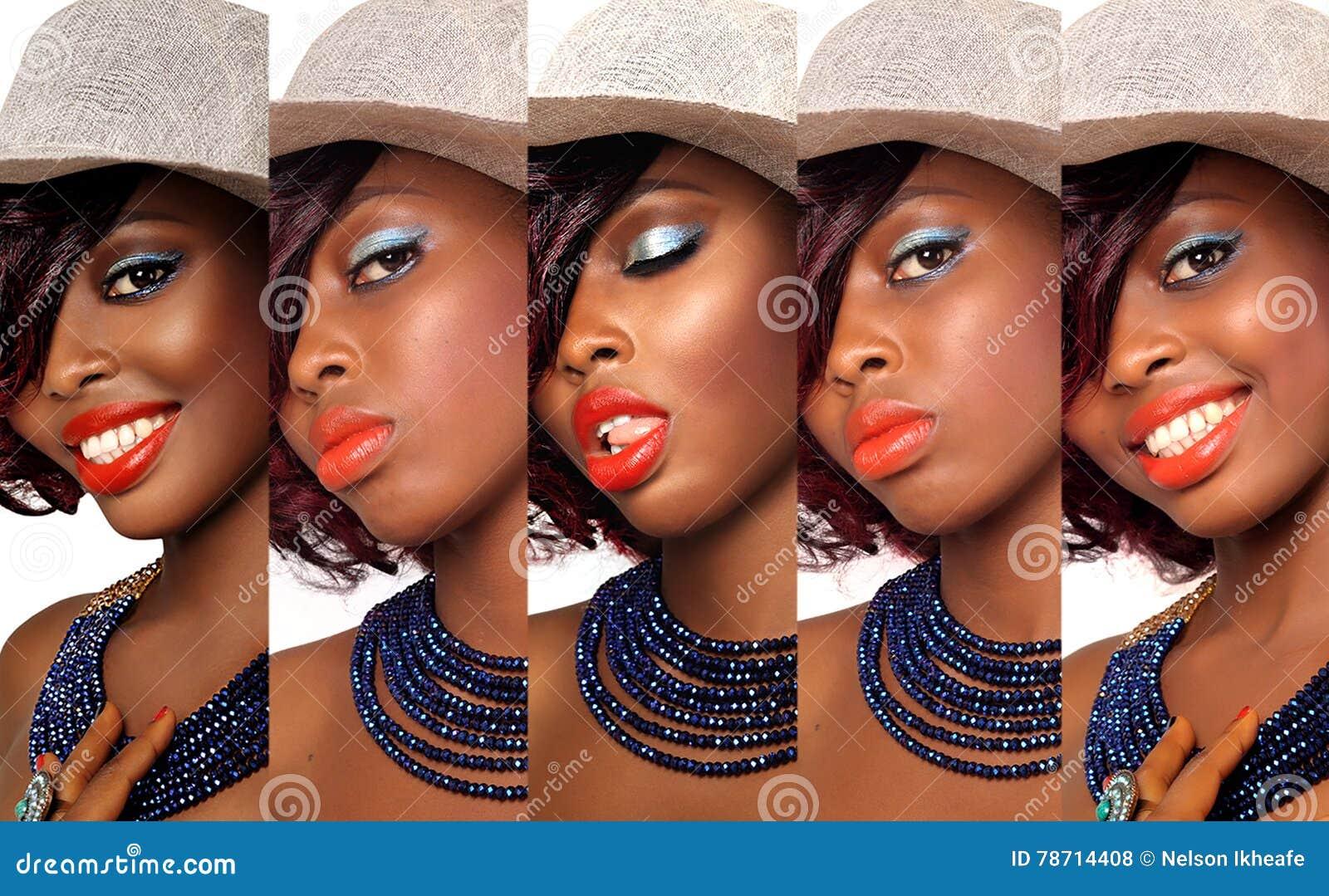 Colagem afro-americano da mulher da beleza