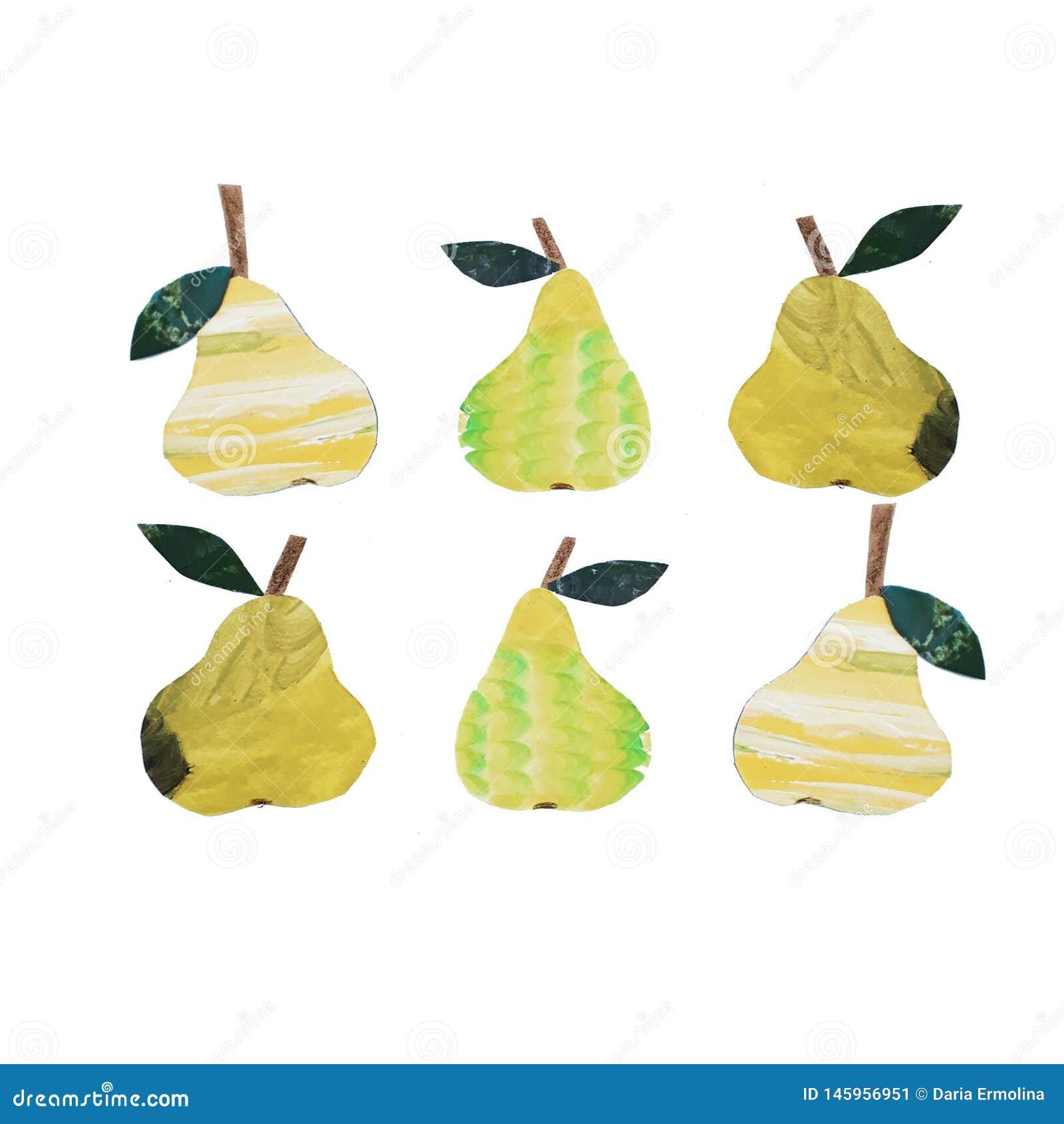 Colagem amarela da pera