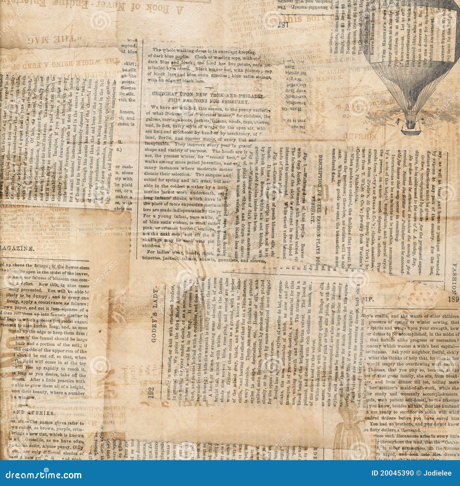 Colagem antiga suja do papel do jornal