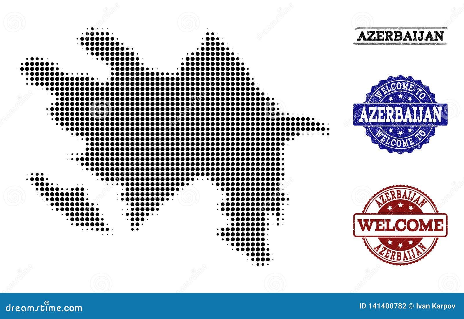 Colagem bem-vinda do mapa de intervalo mínimo de Azerbaijão e de selos riscados