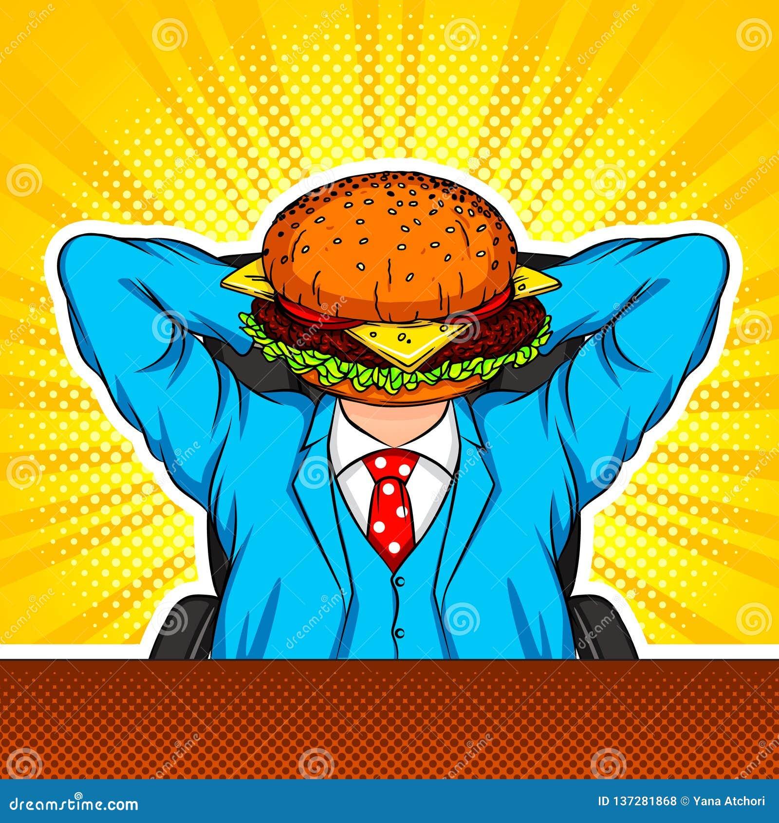 Colagem da arte moderna do vetor da cor com elementos do estilo do pop art A combinação de um hamburguer e de um trabalhador de e