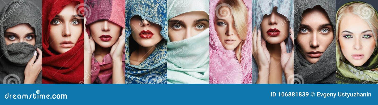 Colagem da beleza de mulheres bonitas