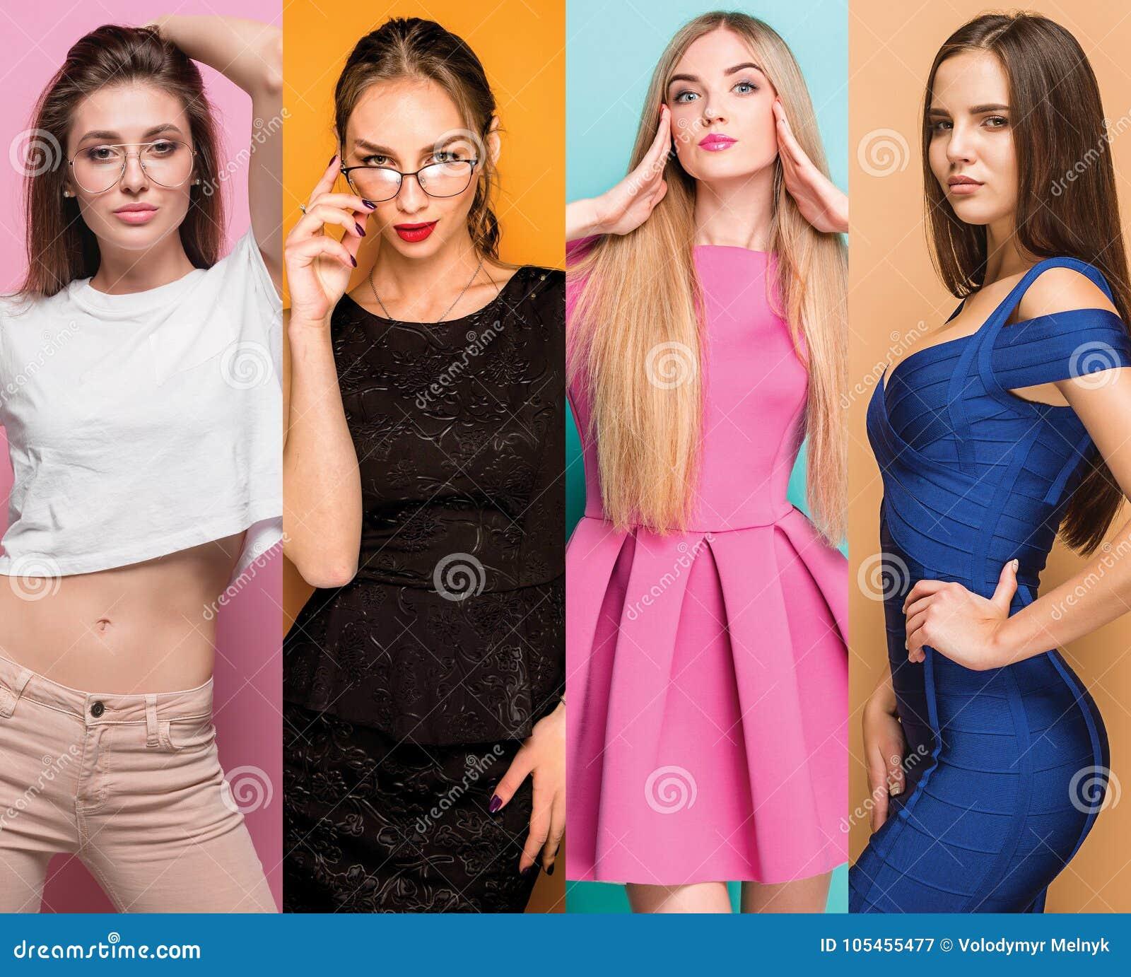Colagem da forma das imagens de jovens mulheres bonitas Meninas  sexy  bonitas